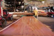 Beautiful Redwood Slab - 17 feet in length, 4 feet in width, 3.5 inches thick.